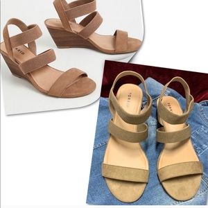 Taupe faux suede elastic strap wedge 12W